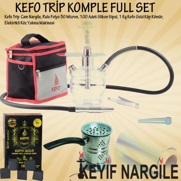 Kefo Trip Çantalı Cam Nargile Takımı Full Set